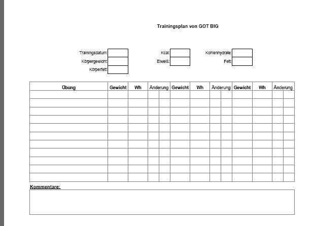 Kostenlose Excel Trainingsplan Vorlage für noch schnelleres ...