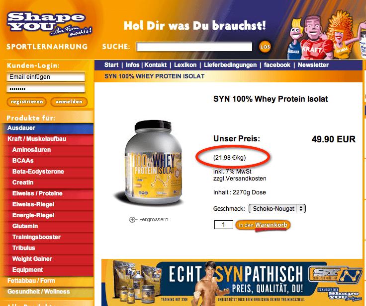 100% Whey Protein Isolat für nur 21,98€