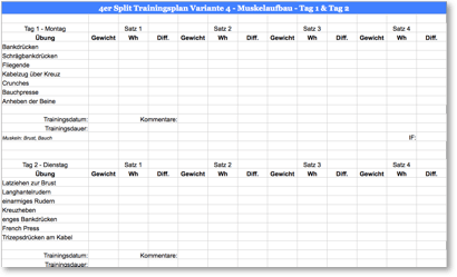 Bodybuilding Trainingsplan Grafik