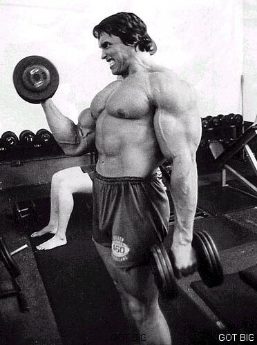 Arnold macht Bizeps Curls
