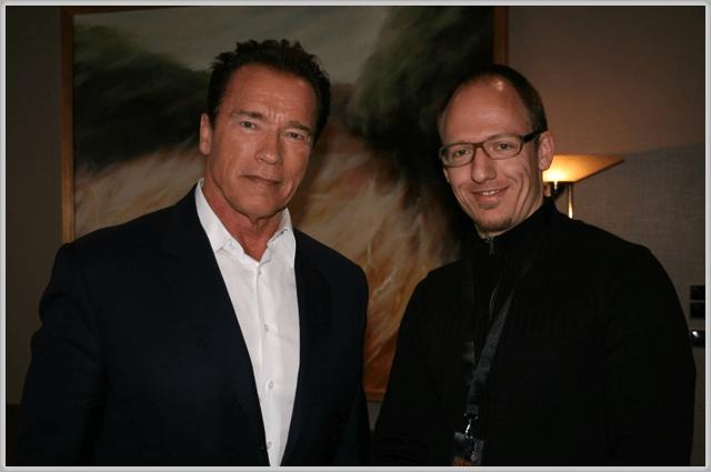 Joerg Scheller und Arnold Schwarzenegger