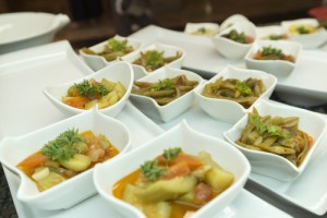 marinated vegetables in portioned plates